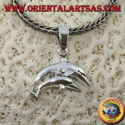 Silver pendant pair of jumping dolphins (mom and son)
