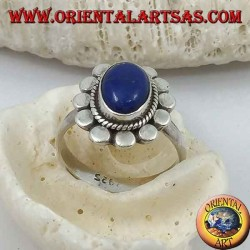 Daisy silver ring with oval cabochon lapis lazuli and petal discs
