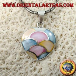 Heart-shaped silver pendant with mosaic of mother-of-pearl colored in semicircles
