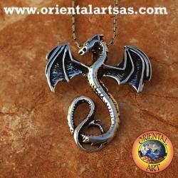 Colgante de plata del dragón del basilisco celta