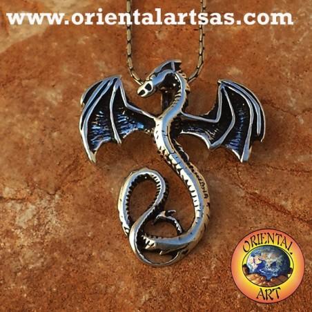 Pendentif celtique de dragon basilic argent