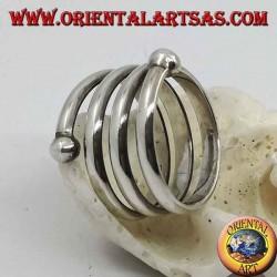 Anello in argento a fascia, molla a tre giri con pallina finale