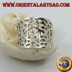 Concave band silver ring with dense perforated floral decoration