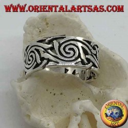 Openwork band silver ring with intertwined spiral decorations