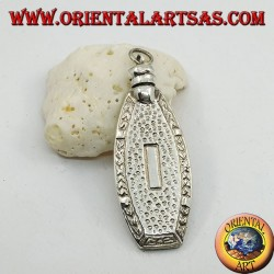 Pendentif en argent, flacon de parfum fait main avec des décorations sculptées