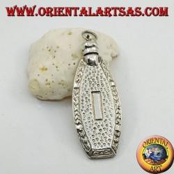 Silberanhänger, handgefertigte Parfümflasche mit geschnitzten Verzierungen