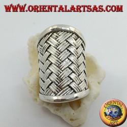 Bague en argent à large bande avec décoration en treillis tissé (style paille), Karen