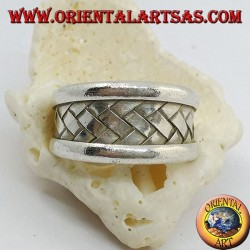 Wide band silver ring with braided lattice decoration, Karen