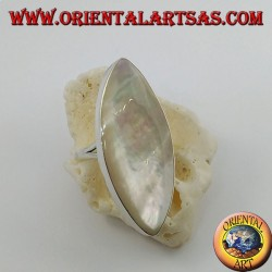 Silver ring with pointed oval mother-of-pearl set on a smooth frame