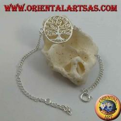 Мягкая серебряная цепочка-браслет с деревом жизни Климта по кругу в центре