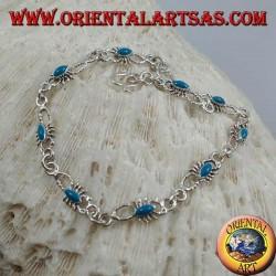 Bracciale in argento morbido con 9 scorpioni con turchese