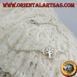 Soft silver chain bracelet with tree of life in the small circle in the center