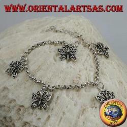 Bracciale in argento morbido a catena spessa con appese farfalle con ali traforate