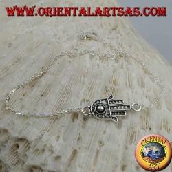 Мягкий серебряный браслет-цепочка с рукой Фатимы с шариком на ладони в центре
