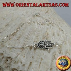 Soft silver chain bracelet with hand of fatima with ball on the palm in the center