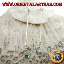 Boucles d'oreilles papillon argent avec barre et pendentif coeur céleste zircon 6 cm