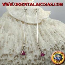 Boucles d'oreilles papillon en argent avec barre et pendentif triangle rose zircon 6 cm
