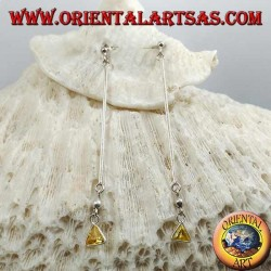 Boucles d'oreilles papillon en argent avec barre et pendentif triangle jaune zircon 6 cm