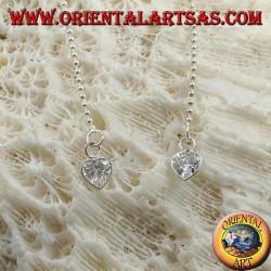 Orecchini in argento a farfalla con catenina a pallini e zircone a cuore bianco da 11 cm