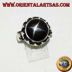 Silver ring with raised Black Star surrounded by disc clovers