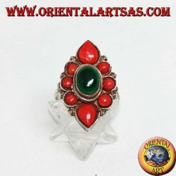 Silver flower ring with oval malachite surrounded by natural coral of Tibetan origin
