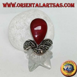 Silver ring with teardrop carnelian and band studded with marcasites