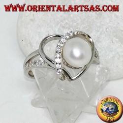 Silberring mit herzförmigem Gewebe aus Naturperlen und Zirkonen