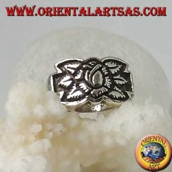 Silver ring with lotus flower in high relief