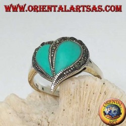 Silver ring with turquoise heart and marcasite border