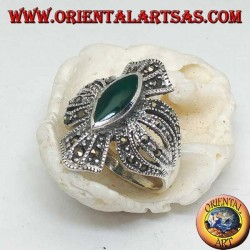 Silver ring cross studded with marcasites with central shuttle green agate