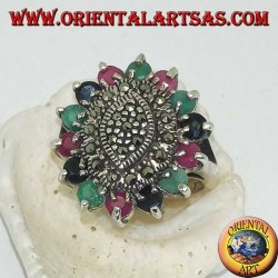Ring in shuttle silver on oval with marcasite surrounded by rubies, emeralds and round sapphires set