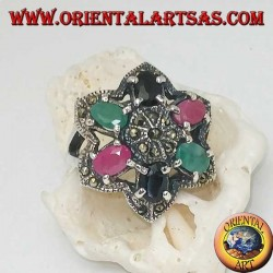 Silver ring flower of Bethlehem (six-pointed star) with rubies, emeralds and sapphires set and marcasite