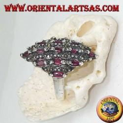 Rhombus Silberring besetzt mit natürlichen ovalen Rubinen und Markasit