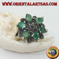 Silver ring with six-pointed stars alternating with natural oval emeralds set and marcasite