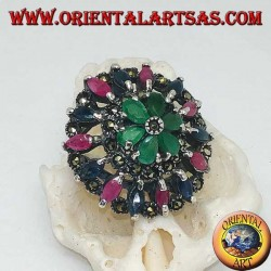 Perforated rosette silver ring with rubies, emeralds and sapphires set and marcasite