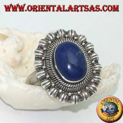 Silver flower ring with oval cabochon lapis lazuli