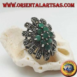 Silver ring, high oval with 9 emeralds set surrounded by marcasites