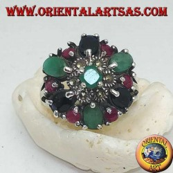 Silver ring, flower with emerald and marcasites surrounded by rubies, emeralds and sapphires set