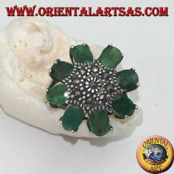 Silver octagonal flower ring with marcasite studded pistil and oval emerald petals set