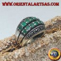 Silver ring with a rounded band with two rows of emeralds set between two rows of marcasites