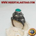 Silver box ring with round turquoise on David's shield and high relief decorations (17)