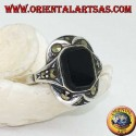 Silver ring with rectangular onyx with marcasites on the corners and sides
