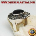 Shield silver ring with a marcasite-studded cross of the Templars and with a central oval onyx