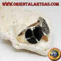 Silver ring in the shape of a bow tie with onyx and marcasites