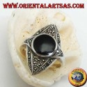 Silver ring rhombus in the ellipse studded with marcasites with central round onyx
