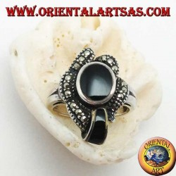 Silver ring with oval onyx surrounded by marcasites and an onyx band
