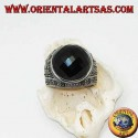 Silver ring with round faceted cabochon onyx surrounded by marcasites on the sides