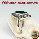 Rhomboidal silver ring with green shuttle agate surrounded by a row of marcasite