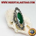 Silver ring with elongated oval green agate surrounded by a wavy line of marcasite