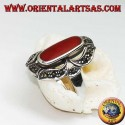 Silver ring with oval carnelian lengthened in a marcasite eight